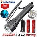 8000LM LED Tauchen Taschenlampe XM L L2 Taucher Lampe Taschenlampe Wasserdicht LED Laterne mit 18650 batterie X2 und ladegerät|LED-Taschenlampen|Licht & Beleuchtung -