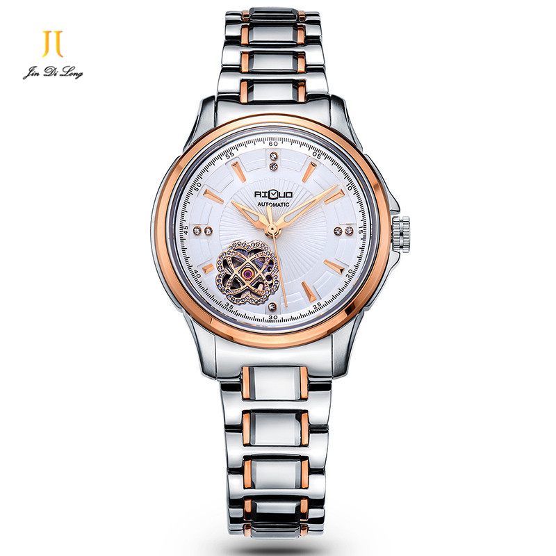 Brand Luxury Casual Fashion Watch Automatic Self-wind Flower Hollow Out Ladies Wrist Watches Diamond Stainless Steel butterfly brand classical fashion business casual watch men s automatic self wind wrist watches tourbillon moon phase hollow out calendar