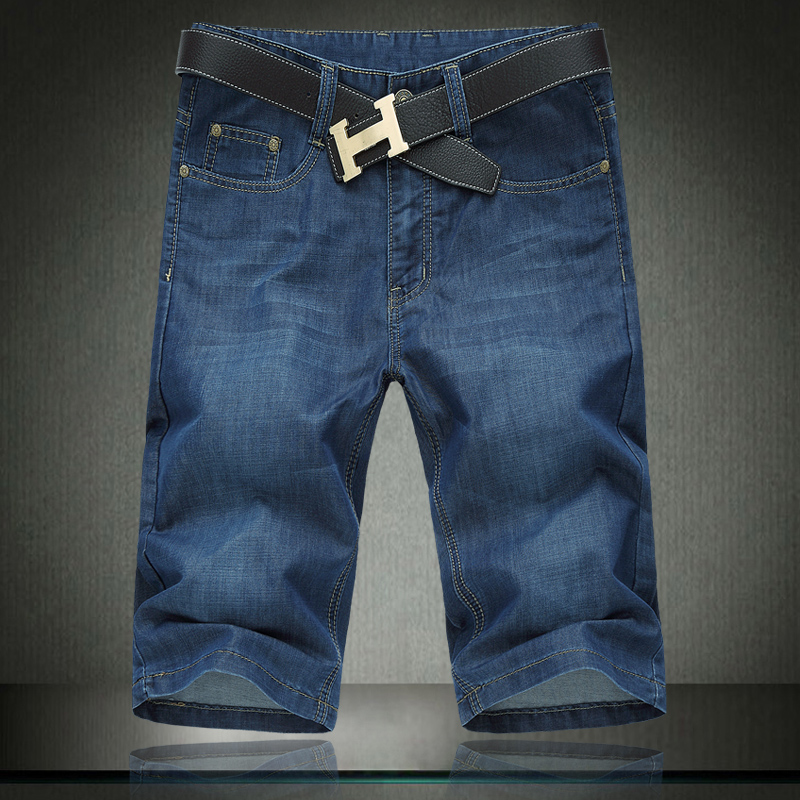 2018 100% Cotton Summer Men Jeans Slight Classic Denim Short Pants Male Washed Baggy Designer Causal Jean Man 30- 46 42 44 #1376 ...