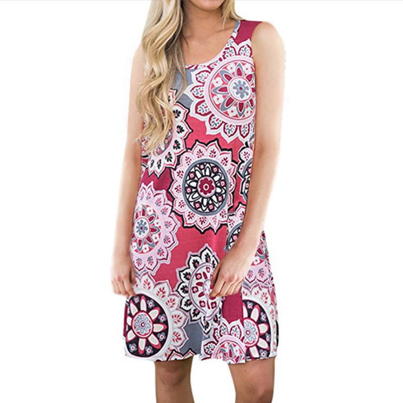 Women Boho Style Flower Print Sleeveless Dress Large size Women 39 s Dresses Print Color Summer A Line Beach Sundress Casual Dress in Dresses from Women 39 s Clothing