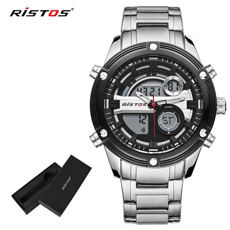 RISTOS Relojes Masculino Top Chronograph Multifunction Men Sports Full Steel Analog Watches Digital Man Fashion Wrist watch 9340 analog watch