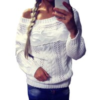 New Sexy Women's Off Shoulder Long Sleeve Knit Knitwear Sweater Pullover Jumper