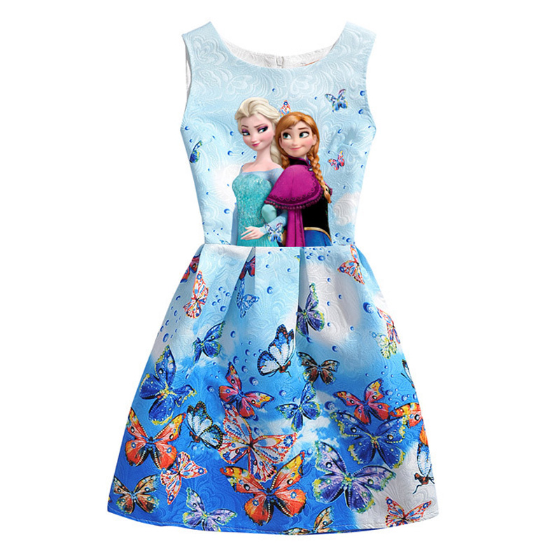 2017 Summer Style Girls Elsa Anna Princess Dresses Girl Butterfly Printed Sleeveless Formal Girl Dresses Teenagers Party Dress girl dress 2017 summer girls style fashion sleeveless printed dresses teenagers party clothes party dresses for girl 12 20 years