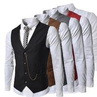 Gentleman Slim Fit Vest Spring Waistcoat Business Vest Men Casual Mens Vests Stylish Waist coat Hot Suit Vest