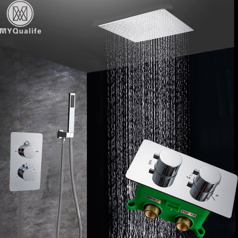 Chrome Thermostatic Shower Faucet Dual Handle Wall Mounted Shower Mixer Tap with Handshower Thermostatic Shower Mixer
