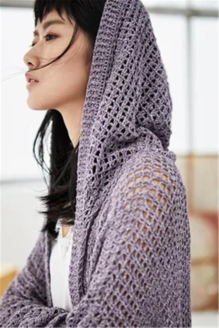 Out De Capuchon Fait Mode Détail En 100 Pull Gros La À Polyester Creux Main Cardigan Mince Long Personnalisé Femmes Solide Knit 0wvpw7Uq