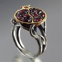 Vintage Big Pomegranate Ring Dark Red Fruit Flower Rings For Women Wedding Party Jewelry Gifts Size 6/7/8/9/10