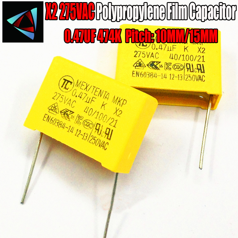 3 Pcs 0.47uF Capacitor X2 Capacitor 275VAC Pitch 10mm 15MM X2 Polypropylene Film Capacitor 474K
