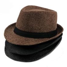 HT1514 Autumn Winter Spring Mens Hats Casual Solid Plain Black Grey Coffee Fedora Retro Derby Jazz British Trilby