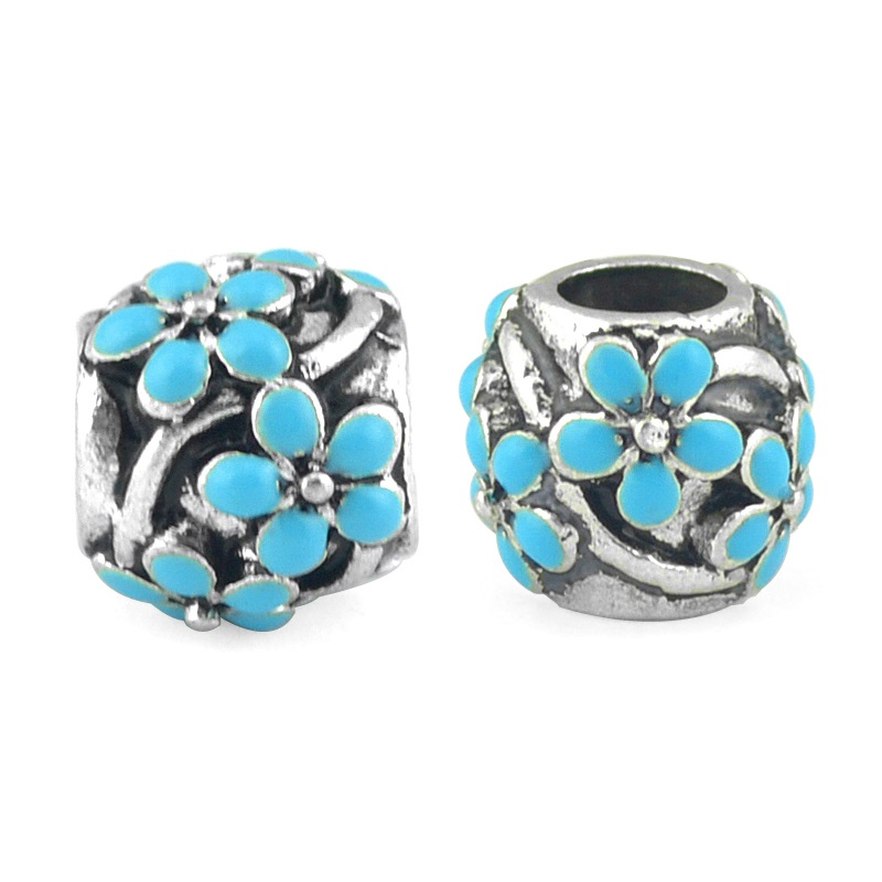 2Pieces/Lot Silver Plated Colorful Flower Charms Bead Fit pandora Charm Bracelets DIY Jewelry Making,SPB120