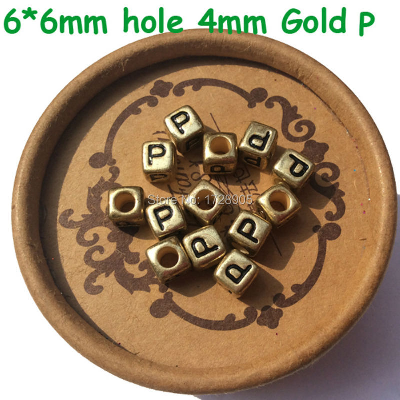 Jewelry & Accessories Big Hole 6*6mm Cube Gold Acrylic Letter Beads 500pcs 2600pcs Plastic Alphabet Jewerly Big Hole Spacer Beads Loose Spacer Beads