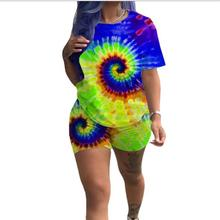 Print Women Short Two Piece Set Top and Shorts Set