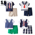 SK Brand Gentleman Style Bbay Boys Clothing Summer 2107 Children Clothing Casual Boys Clothes Costume Kids Clothing for B