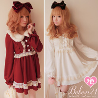 Sweet lolita dress bobon 21 princess royal imitated fur collar vintage lace bow decoration one piece Autumn thick dress d0687