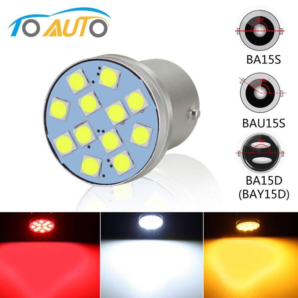 1pcs 1156 BA15S P21W BAU15S PY21W LED 1157 BAY15D P21/5W BA15D 800LM 12SMD 3030 Car Turn Signal Reverse Lights Auto Lamp 12V