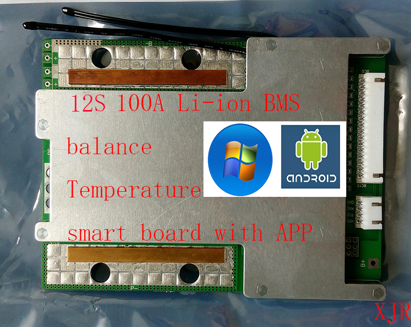 12S 100A smart board lipo lithium Polymer BMS/PCM/PCB battery protection  board for 18650 Li-ion Battery Cell w/ Balance w/APP