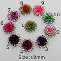 10 шт., разноцветные розы 18 мм, кнопки из смолы и горного хрусталя, серебряная основа, принадлежности для творчества, украшения, центр цветов д...