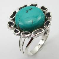 Solid Silver Real Turquoises Ring Sz 7 Fashion Wholesale Jewelry Unique Designed