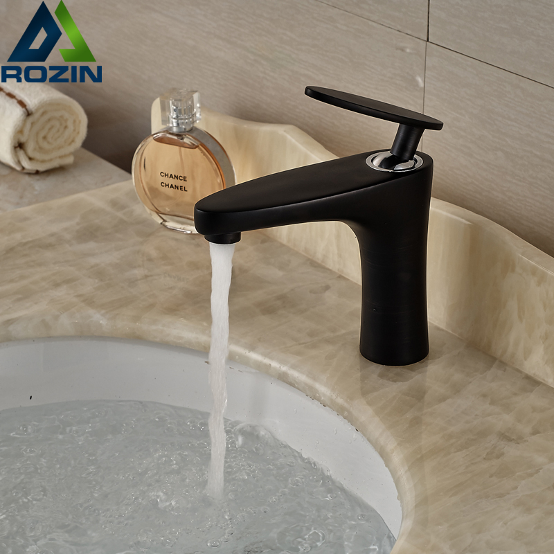 Unique Design Black Bathroom Vanity Sink Mixer Faucet Single Handle With  Hot Cold Water(China