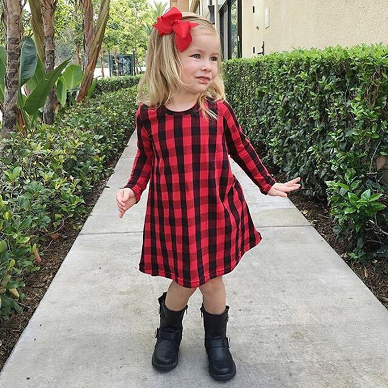 Spring Fall Casual Baby Child Girl Long Sleeve Color Print Dress Party Party Princess Evening Dresses Baby girl 1-6Y