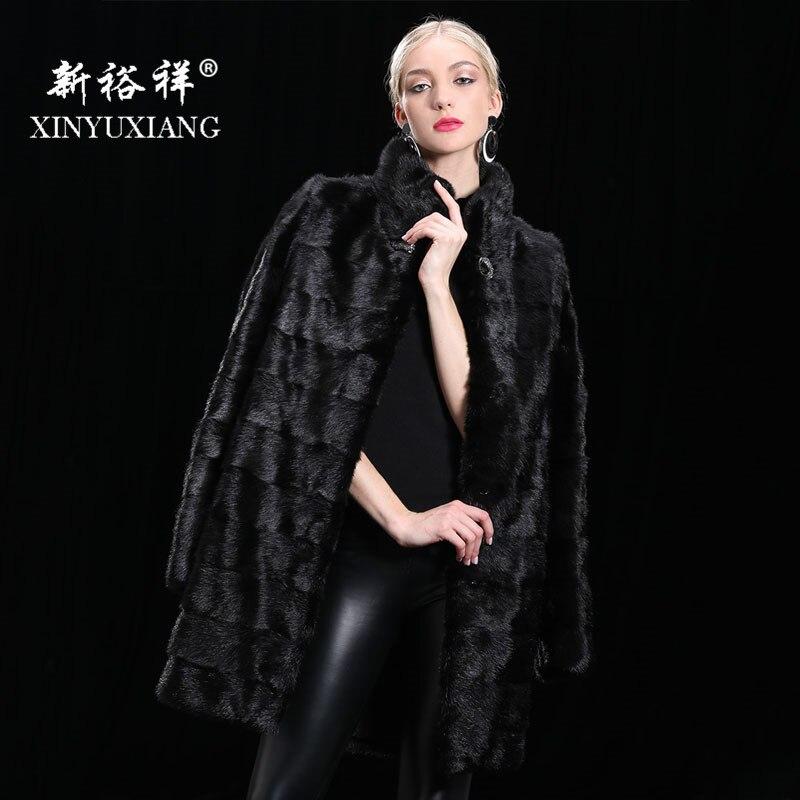 XINYUXIANG 90 cm Détachable Réel De fourrure de Vison manteau femmes Hiver chaud épais Naturel de fourrure outwear Véritable Cuir Véritable manteau de fourrure femelle