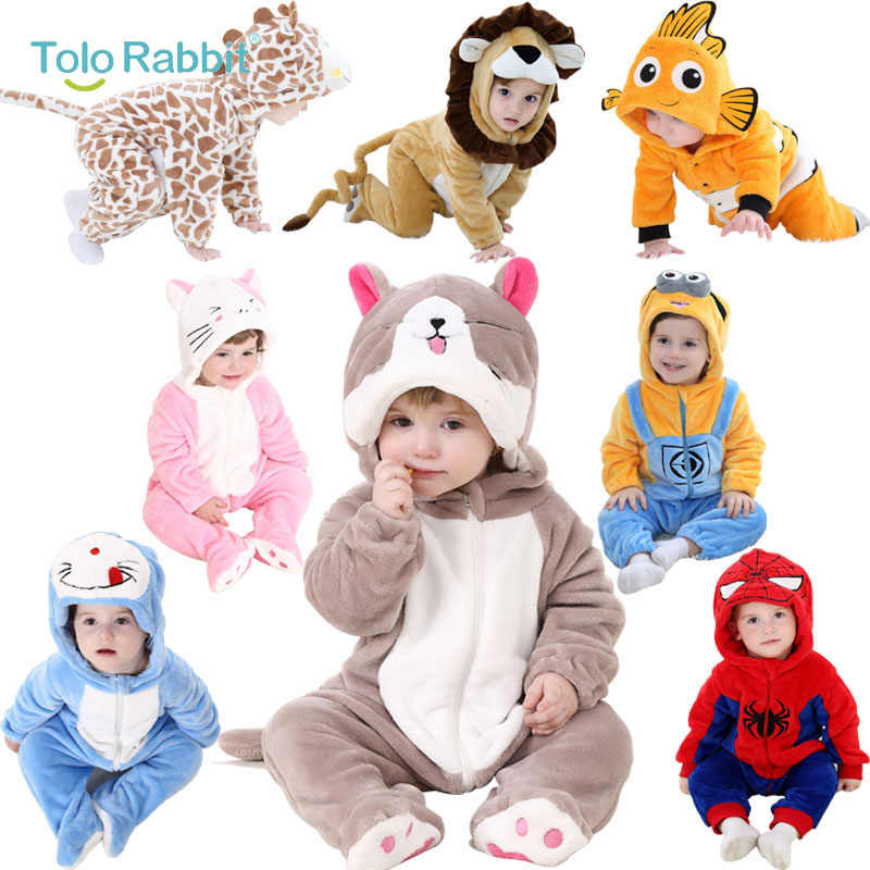 e9a3e12f11da Baby Cartoon Rompers Newborn Hooded Toddler Clothing Boys Girls Minions  Animal Jumpsuit Playsuit Costume Flannel Baby
