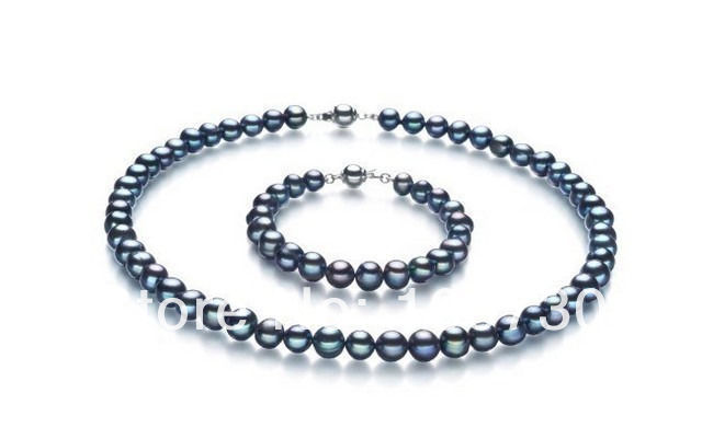 Jewelry 00580 SET OF TAHITIAN GENUINE BLACK PERFECT ROUND AAA BLACK PEARL NECKLACE BRACELET