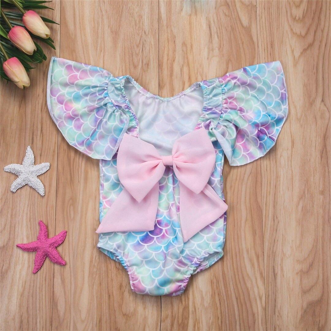 Summer adorable Infant Kid Baby Girl Mermaid One-Piece Swimwear ruffles sleeve cute Swimsuit Bikini Bathing Costume Beachwear