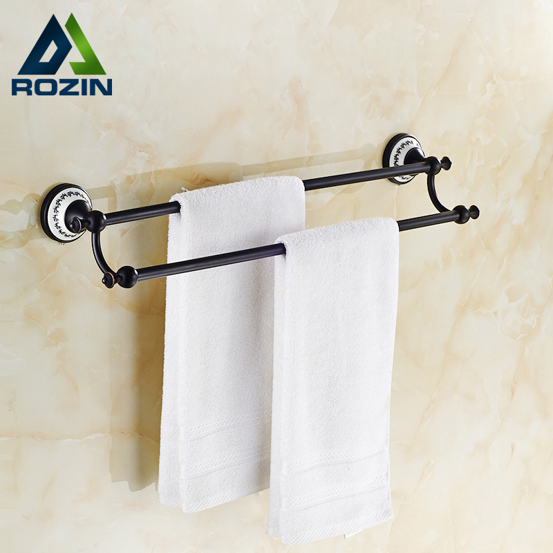 Retro Style Double Bar Bathroom Towel Hanger Wall Mounted Towel Bar Oil Rubbed Bronze Finished dialog md 15 black