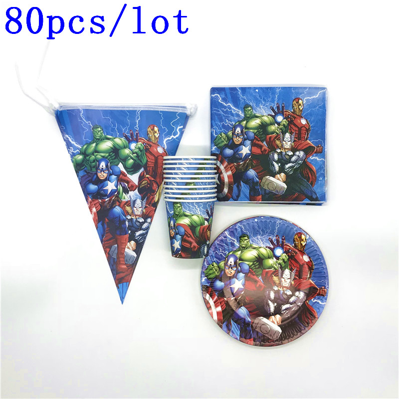 80Pcs/lot Avenger Captain America Thor Paper Cup Plate Iron Man Napkin flag Birthday Baby Shower Banner Decoration Supplies80Pcs/lot Avenger Captain America Thor Paper Cup Plate Iron Man Napkin flag Birthday Baby Shower Banner Decoration Supplies