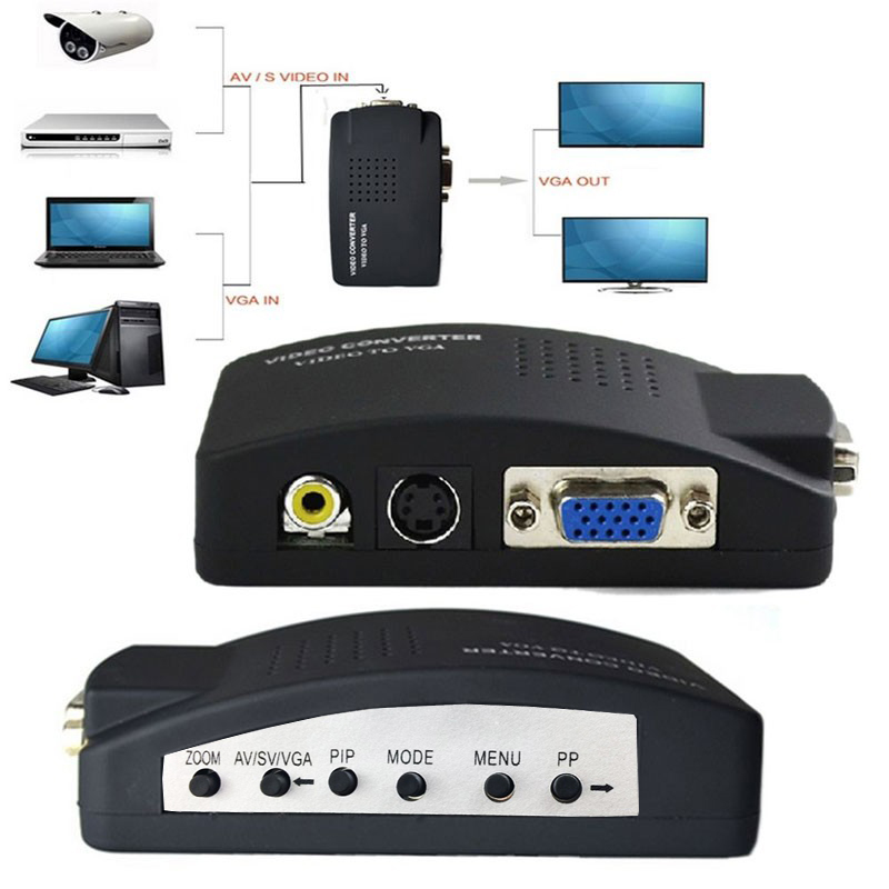 Professional Composite Video AV S Video RCA to PC Laptop VGA TV Converter Monitor Adapter Switch