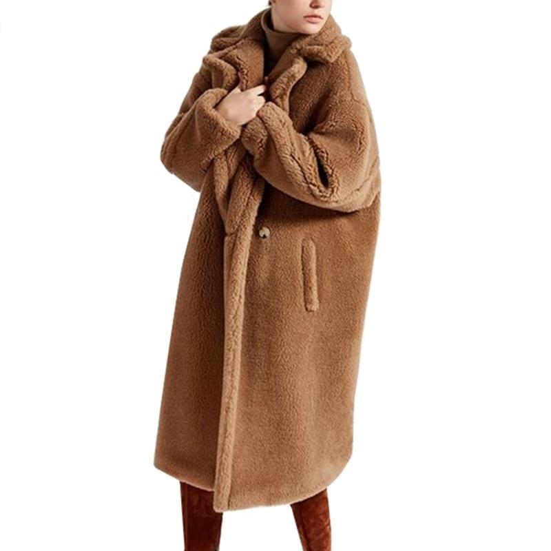 winter faux fur coat teddy bear brown fleece jackets women. Black Bedroom Furniture Sets. Home Design Ideas