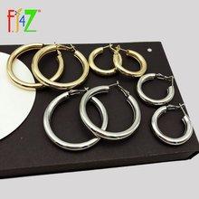 Fj4z большой круг обруч серьги золотого и серебряного цвета