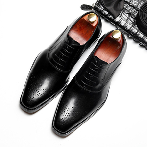 Image 3 - Men Genuine Cow Leather Brogue Wedding Business Mens Casual Flats Shoes 2020 Black Burgundy Vintage Oxford Shoes For Mens Shoe