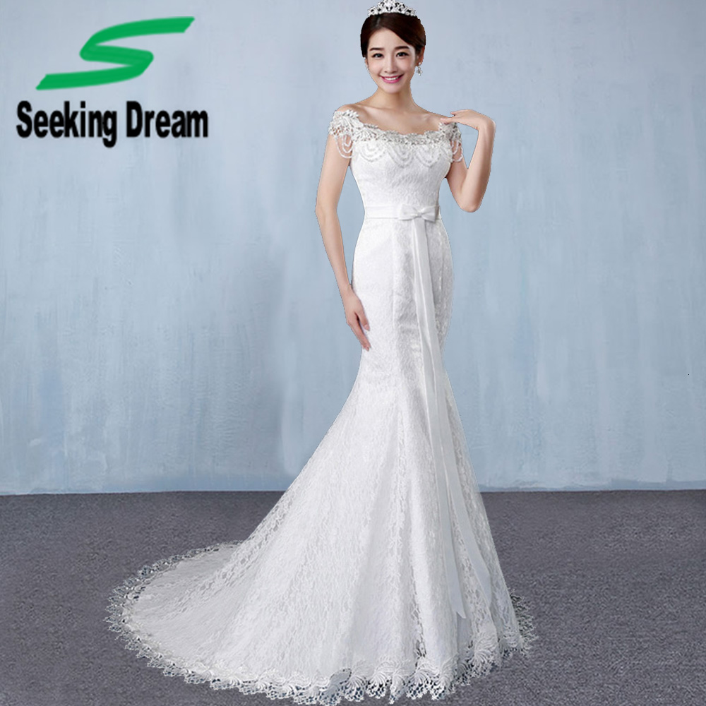 2017 ivory white sexy lace mermaid dress boat neck train for Boat neck lace wedding dress