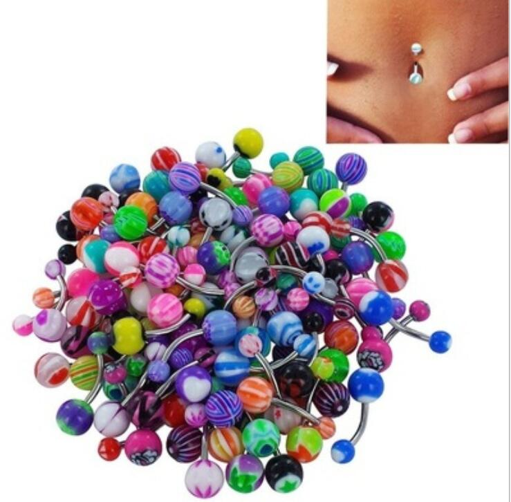 Lot 10 Pcs Acrylique Barbell boule Navel Belly Button Rings Body Piercing Jewelry