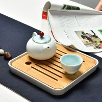 Seiko Production Bamboo Tea Tray Imitation Porcelain Bottom Bracket Water Storage Kung Fu Tea Sets