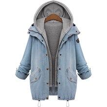 YJSFG HOUSE Women Hooded Sleeveless Jacket And Coat Set Casual Loose Jacket Ladies Denim Overcoat Jeans Coats Jackets Plus Size