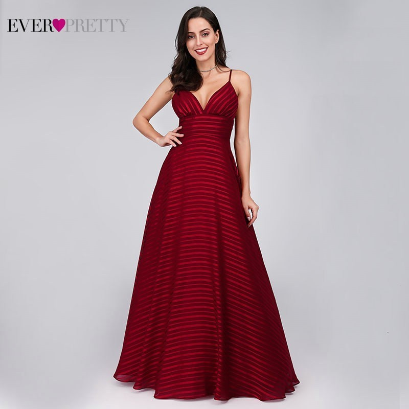 New Arrival Burgundy Bridesmaid Dresses Ever Pretty A-Line V-Neck Spaghetti Straps Sexy Long Dresses For Wedding Party Vestido