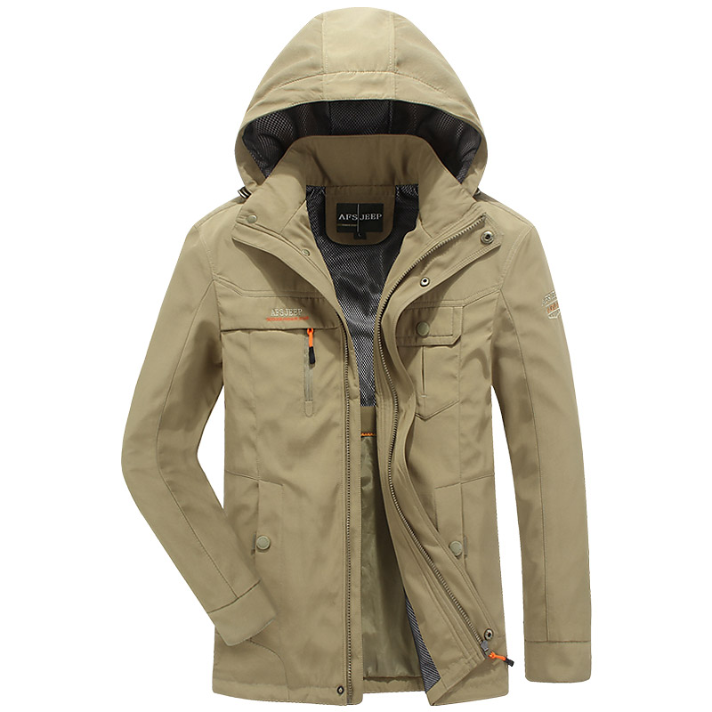 Waterproof windbreaker jacket men brand multi pockets army jacket coat men Spring hooded jacket military outwear