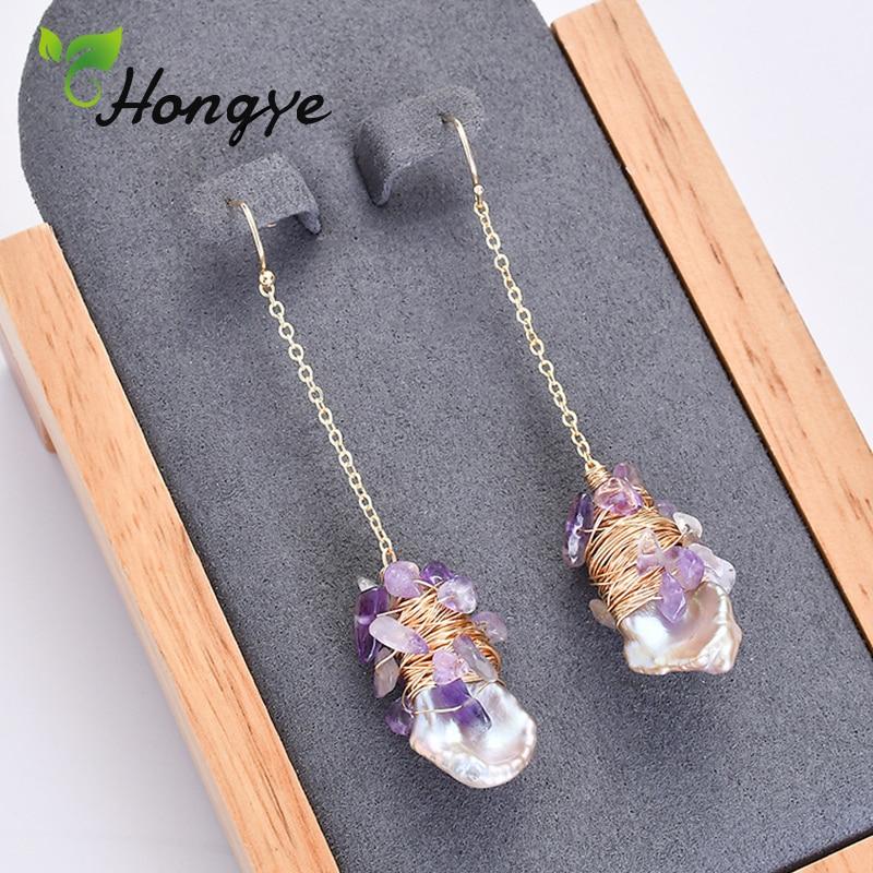 Hongye Romantic Pearl Earrings Fashion Jewelry Romantic Purple Stones Wrapped Real Gold Jewelry Long Dangling Vintage Ear Hook in Earrings from Jewelry Accessories