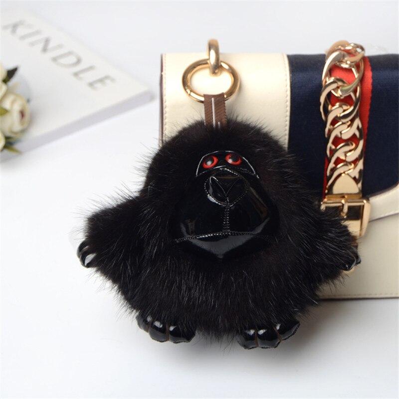 New genuine orangutan leather key chain backpack monkey pendant men s black mink fur animal shape