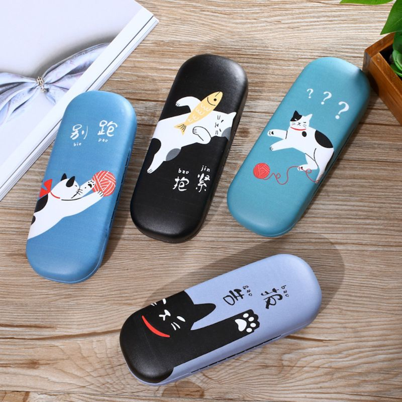 New Glasses Box Cat Cute Cartoon Hard Case Reading Glasses Storage Sunglasses Optical Eyeglasses Protector Goggles Portable
