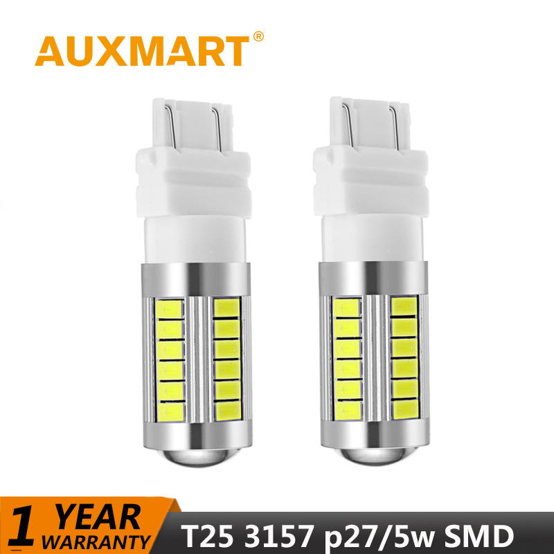 Auxmart LED Bulb T25 3157 P27/5W LED Canbus Car-styling Auto LED 12V Tail Lights Brake Stop lights Reverse fog LED Lamp SMD car led 1pcs t10 194 w5w dc 12v canbus 6smd 5050 silicone shell led lights bulb no error led parking fog light auto car styling