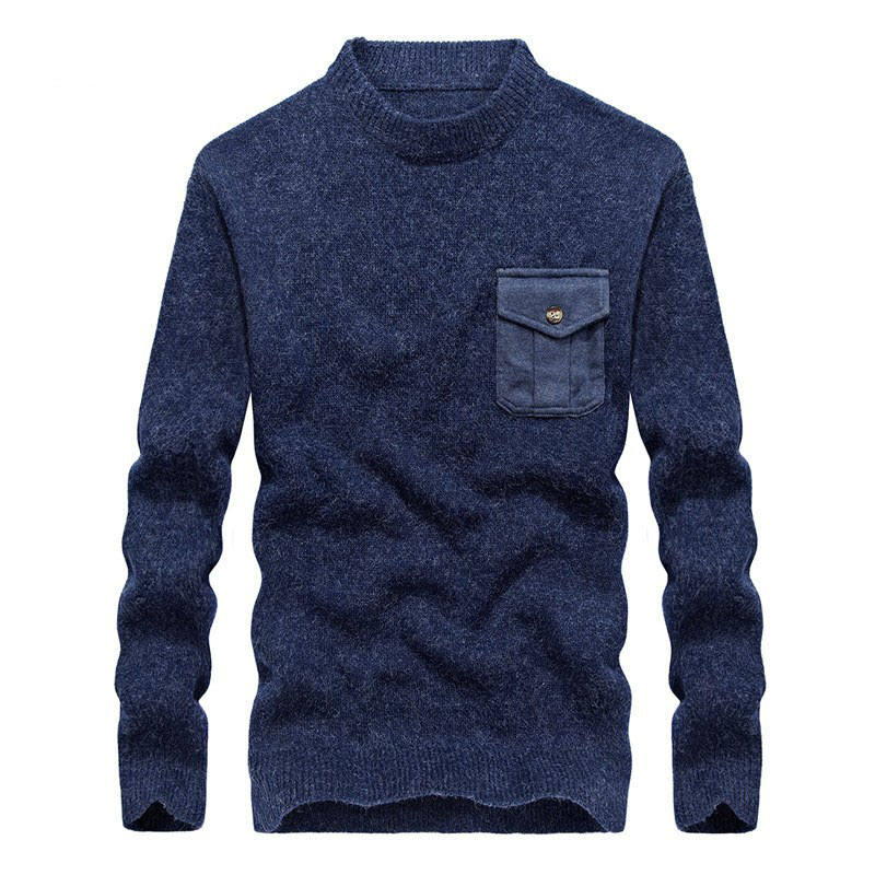 2018 Fashion Mens Soft Comfort Knitted Sweater Casual Pocket Design Turleneck Pullover Large Size Slim Fit Sueter Hombre Tops
