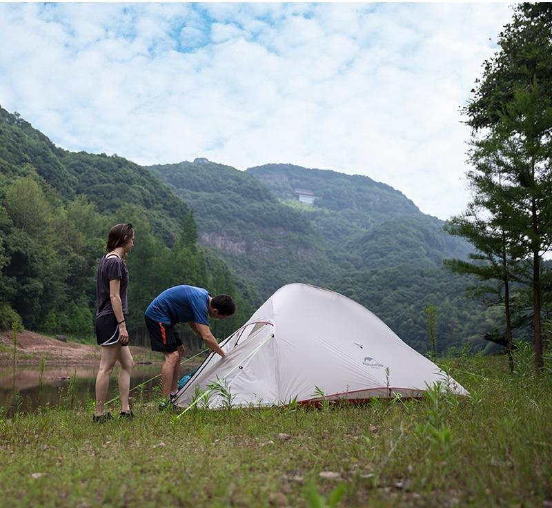 Naturehike Модернизированный облачный 1 2 3 Сверхлегкий тент отдельно стоящий 20D ткань 1 3 человека палатки для кемпинга с бесплатным ковриком - 2