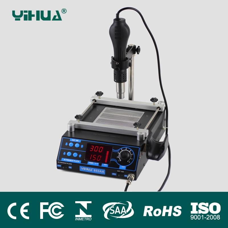 все цены на 220V/110V 853AA LCD Adjustable Electronic Heat Hot Air Gun PCB preheat and desoldering IR preheating station BGA rework station онлайн