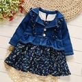 2017 primavera nueva ropa de bebé niñas establece estilo de moda del vaquero capa impresa + dress 2 unids ropa de las muchachas
