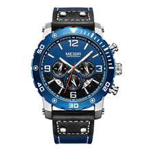 Megir Men's Watches Casual Luxury Luminous Watch Multiple Functions Genuine Leather Waterproof Chronograph Sport Watch For Men