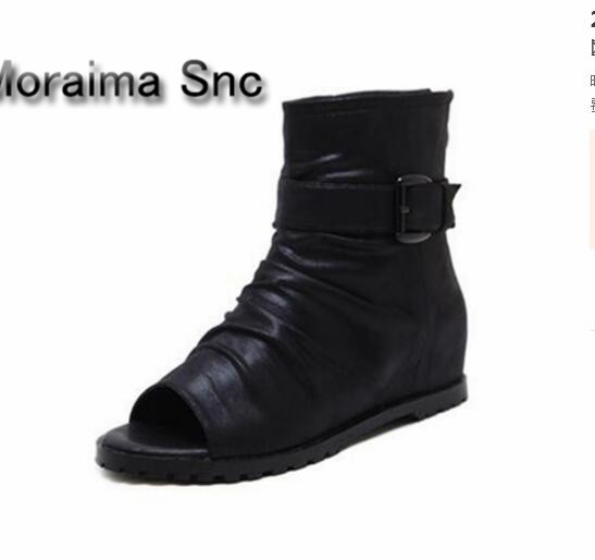 Moraima Snc rome style ankle boots for gilrs 2018 spring summer peep toe height increasing short boots black leather ladies shoe